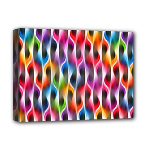 Rainbow Psychedelic Waves Deluxe Canvas 16  X 12  (framed)  by KirstenStar