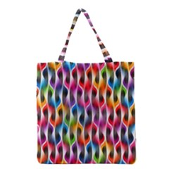 Rainbow Psychedelic Waves Grocery Tote Bag by KirstenStar