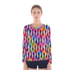 Rainbow Psychedelic Waves Women s Long Sleeve T Shirt by KirstenStar