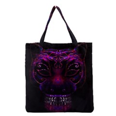 Creepy Cat Mask Portrait Print Grocery Tote Bag