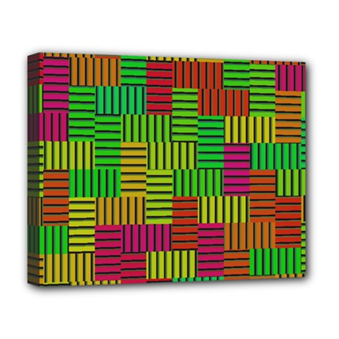 Colorful Stripes And Squares Deluxe Canvas 20  X 16  (stretched) by LalyLauraFLM