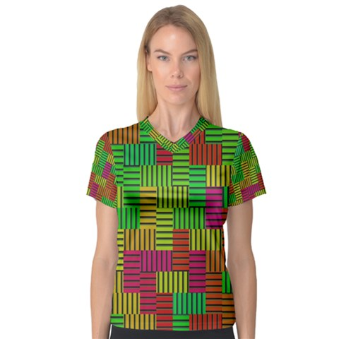 Colorful Stripes And Squares Women s V-neck Sport Mesh Tee by LalyLauraFLM
