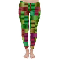 Colorful Stripes And Squares Winter Leggings