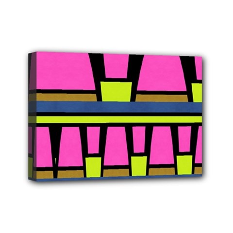 Trapeze And Stripes Mini Canvas 7  X 5  (stretched) by LalyLauraFLM