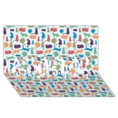 Blue Colorful Cats Silhouettes Pattern Sorry 3d Greeting Card (8x4)