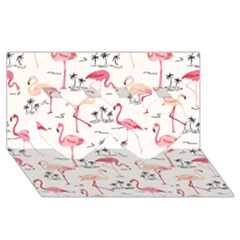 Flamingo Pattern Twin Hearts 3D Greeting Card (8x4)