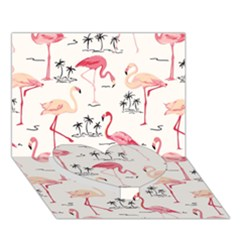 Flamingo Pattern Heart Bottom 3D Greeting Card (7x5)