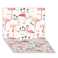 Flamingo Pattern Apple 3d Greeting Card (7x5)  by Contest580383