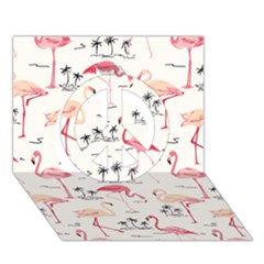Flamingo Pattern Peace Sign 3D Greeting Card (7x5)