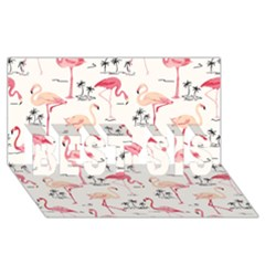 Flamingo Pattern BEST SIS 3D Greeting Card (8x4)