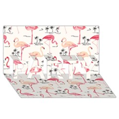Flamingo Pattern PARTY 3D Greeting Card (8x4)