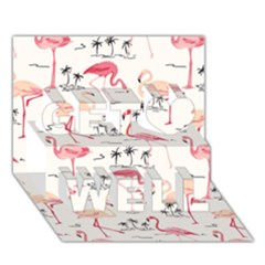 Flamingo Pattern Get Well 3D Greeting Card (7x5)