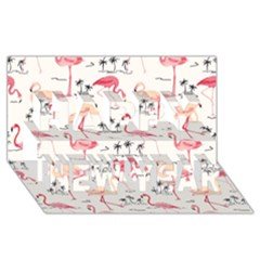 Flamingo Pattern Happy New Year 3D Greeting Card (8x4)