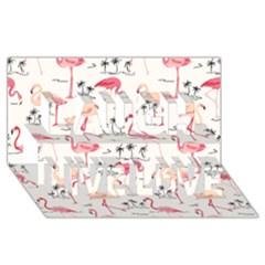 Flamingo Pattern Laugh Live Love 3D Greeting Card (8x4)