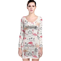 Flamingo Pattern Long Sleeve Bodycon Dresses