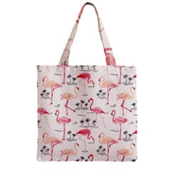 Flamingo Pattern Zipper Grocery Tote Bags
