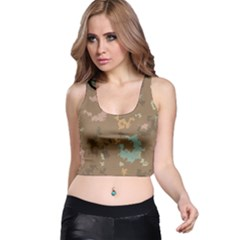 Paint Strokes In Retro Colors Racer Back Crop Top by LalyLauraFLM