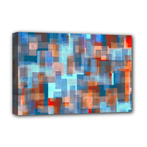 Blue Orange Watercolors Deluxe Canvas 18  X 12  (stretched) by LalyLauraFLM