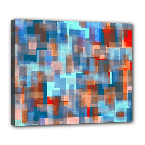 Blue Orange Watercolors Deluxe Canvas 24  X 20  (stretched)
