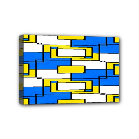 Yellow Blue White Shapes Pattern Mini Canvas 6  X 4  (stretched) by LalyLauraFLM