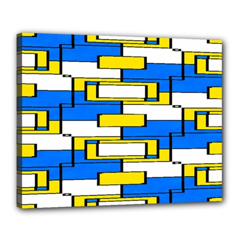 Yellow Blue White Shapes Pattern Canvas 20  X 16  (stretched) by LalyLauraFLM
