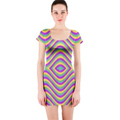 Vintage Geometric Short Sleeve Bodycon Dresses by dflcprintsclothing