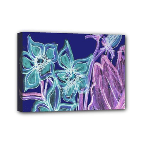 Purple, Pink Aqua Flower Style Mini Canvas 7  X 5  by Contest1918526