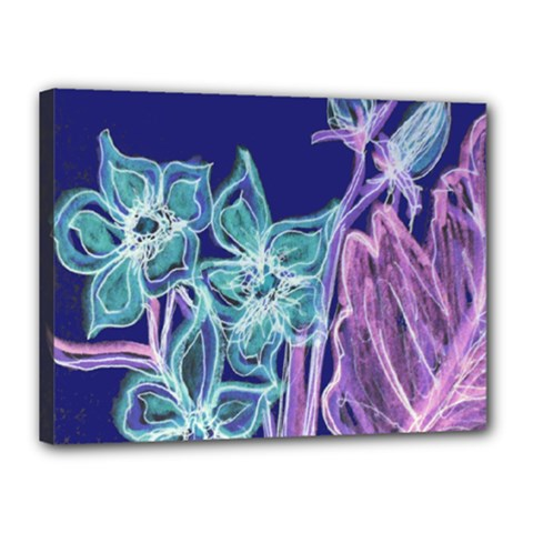 Purple, Pink Aqua Flower Style Canvas 16  X 12  by Contest1918526