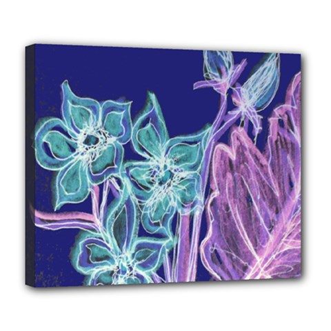 Purple, Pink Aqua Flower Style Deluxe Canvas 24  X 20   by Contest1918526