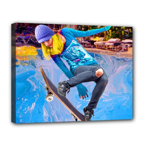 Skateboarding On Water Canvas 14  X 11  by icarusismartdesigns