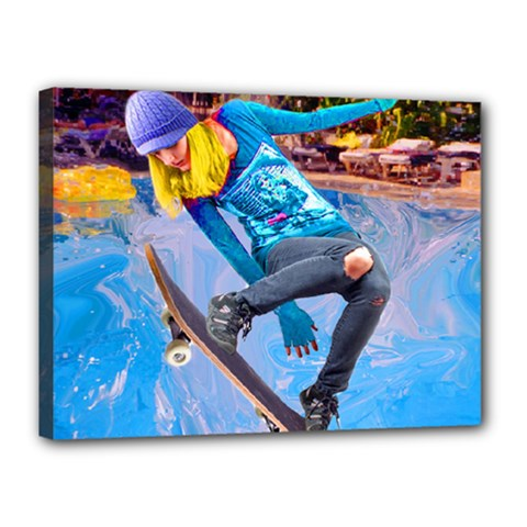 Skateboarding On Water Canvas 16  X 12  by icarusismartdesigns
