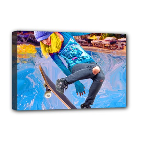 Skateboarding On Water Deluxe Canvas 18  X 12   by icarusismartdesigns