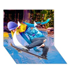 Skateboarding On Water Heart 3d Greeting Card (7x5)  by icarusismartdesigns