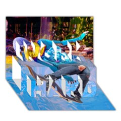 Skateboarding On Water Work Hard 3d Greeting Card (7x5)
