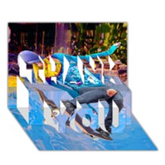 Skateboarding On Water Thank You 3d Greeting Card (7x5)  by icarusismartdesigns