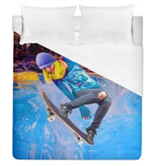 Skateboarding On Water Duvet Cover Single Side (full/queen Size) by icarusismartdesigns