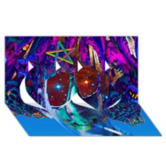 Voyage Of Discovery Twin Hearts 3d Greeting Card (8x4)  by icarusismartdesigns