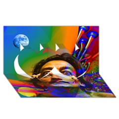 Dream Of Salvador Dali Twin Hearts 3d Greeting Card (8x4)  by icarusismartdesigns