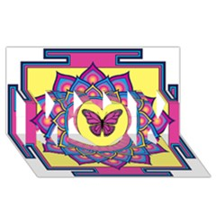 Butterfly Mandala Mom 3d Greeting Card (8x4)  by GalacticMantra