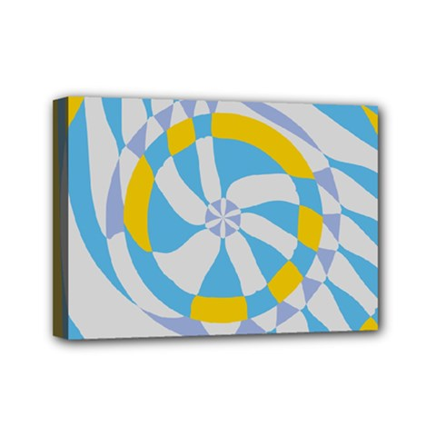 Abstract Flower In Concentric Circles Mini Canvas 7  X 5  (stretched) by LalyLauraFLM