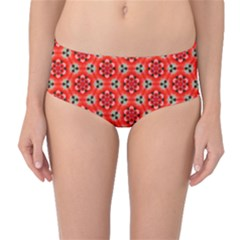 Lovely Orange Trendy Pattern  Mid Waist Bikini Bottoms by creativemom
