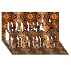 Faux Animal Print Pattern Happy Birthday 3d Greeting Card (8x4)  by creativemom