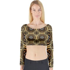 Faux Animal Print Pattern Long Sleeve Crop Top by creativemom