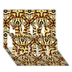 Faux Animal Print Pattern Take Care 3d Greeting Card (7x5)  by creativemom