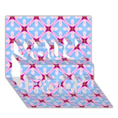 Cute Pretty Elegant Pattern You Rock 3d Greeting Card (7x5)  by creativemom