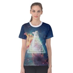 Nebula Cat Triangle Women s Cotton Tees by mindful