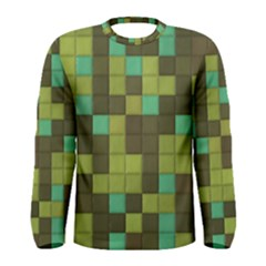 Green Tiles Pattern Men Long Sleeve T Shirt