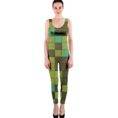 Green Tiles Pattern Onepiece Catsuit by LalyLauraFLM