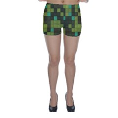 Green Tiles Pattern Skinny Shorts by LalyLauraFLM