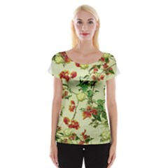 Vintage Style Floral Print Women s Cap Sleeve Top by dflcprintsclothing